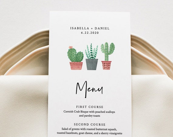 Fiesta Menu Template, Cactus Wedding Menu Card, Printable Succulent Menu, INSTANT DOWNLOAD, Editable Text, Templett 5x7 & 3.65x9 #086-143WM