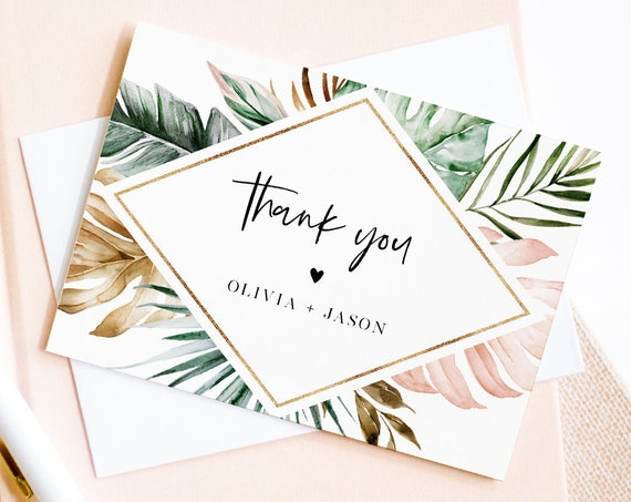 Tropical Thank You Note Card Template, Editable Wedding / Bridal Shower Folded Card, Blush & Gold, INSTANT DOWNLOAD, Templett #087-135TYC