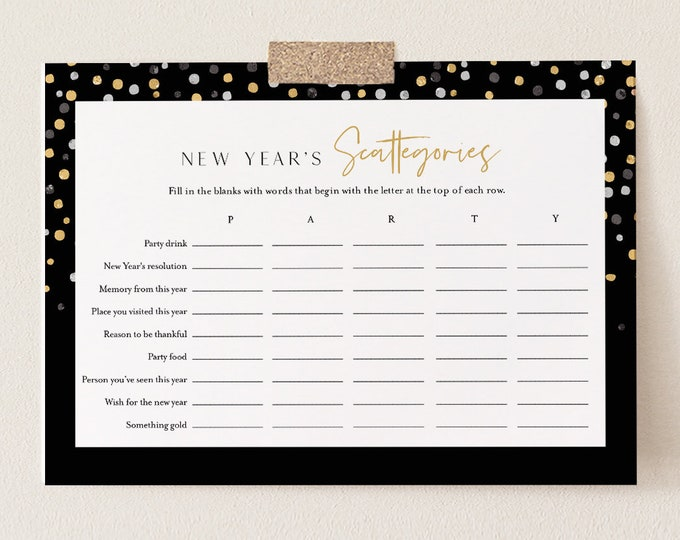 New Year's Scattergories Game, Printable New Years 2021 Party Game, A-Z NYE Game, Editable Template, Instant Download, Templett 5x7 #102NYG