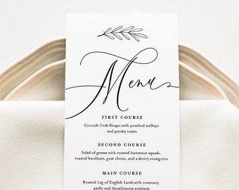 Calligraphy Menu Card Template, Modern Minimalist Wedding Dinner Menu, Printable, 100% Editable, Instant Download, Templett #003-154WM