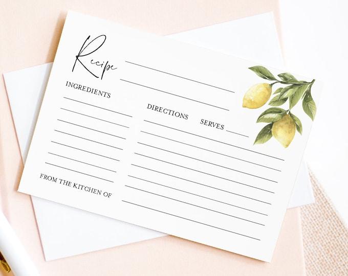 Lemon Recipe Card Template, Printable Citrus Bridal Shower Recipe Insert, Instant Download, 100% Editable Text, Templett #089-117RC
