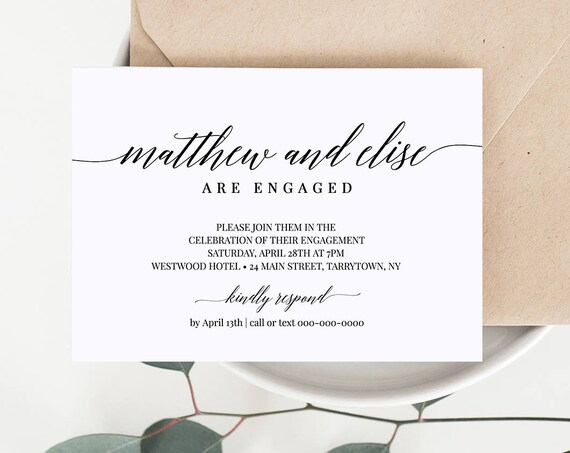 Engagement Party Invitation Tempate, Engaged Announcement Card, DIY Printable Invite, Fully Editable Template, Instant Download #034-202EP