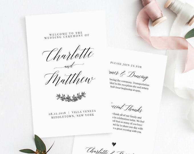 Folded Wedding Program, Order of Service, Printable Catholic Ceremony Program, 100% Editable Template, Instant Download, Templett #034-106WP