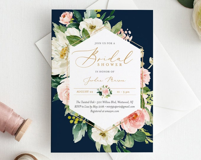 Self-Editing Bridal Shower Invitation Template, INSTANT DOWNLOAD, Printable Wedding Shower Invite, Boho Floral & Navy, Templett #043-145BS