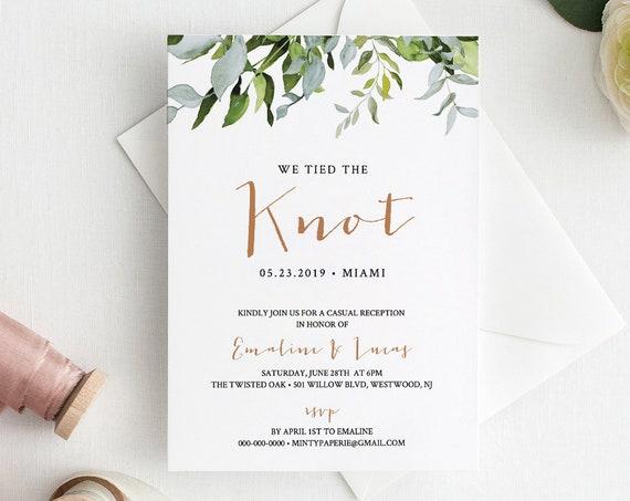 INSTANT DOWNLOAD, Elopement Announcement, Elope Invitation, Reception Party Printable, Editable Text, Boho / Rustic, Templett  #016-110EL