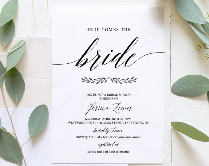 Bridal Shower Invitation Printable, Wedding Shower Invite Template, INSTANT DOWNLOAD, 100% Editable, Simple Modern, DIY, Templett #034-121BS