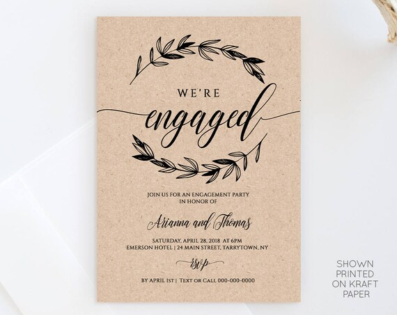 Printable Engagement Party Invitation Template, Rustic Wedding Engagement Announcement, 100% Editable, Instant Download, DIY #023-101EP
