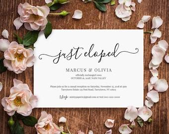Printable Elopement Announcement, Elopement Invitation Template, Just Eloped, Reception Invite, Instant Download, Editable #030-105EL