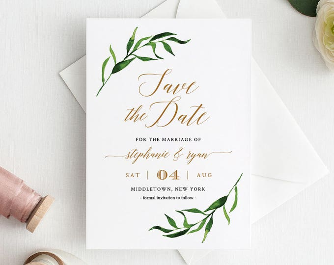 Save the Date Printable, Save the Date Cards Template, Greenery Wedding, Watercolor, Instant Download, Fully Editable, Templett #013-102SD