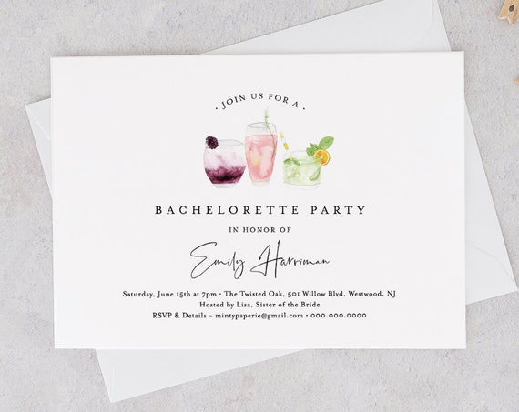 Printable Bachelorette Party Invitation Template, INSTANT DOWNLOAD, 100% Editable Text, Cocktail / Drinks Hen Do Invite, Templett #060-119BP
