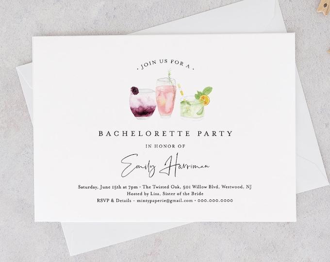 Printable Bachelorette Party Invitation Template, INSTANT DOWNLOAD, 100% Editable Text, Cocktail / Drinks Hen Do Invite, Templett #060-119BP