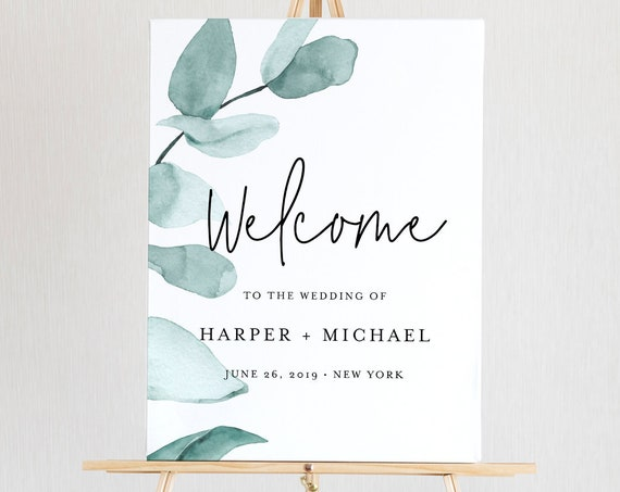 Welcome Sign Template, Instant Download, 100% Editable, Printable Wedding or Bridal Shower Poster, Eucalyptus Greenery, Templett #049-127LS