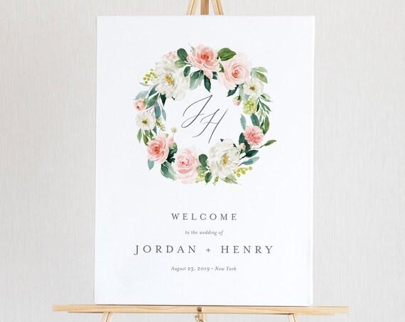 Welcome Sign Template, Instant Download, Wedding Monogram, Bridal Shower, 100% Editable, Printable Poster, Florals, US & UK Sizes #043-121LS