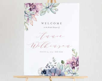 Succulent Bridal Shower Welcome Sign Template, Instant Download, DIY 100% Editable Text, Printable Wedding Sign, US & UK Sizes #041-122LS