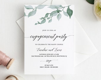 Engagement Party Invitation Printable, Greenery Engaged Announcement, INSTANT DOWNLOAD, 100% Editable Template, Digital, Templett #019-104EP