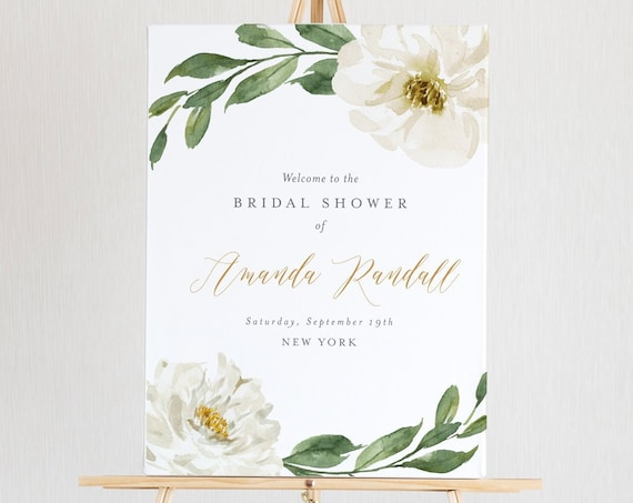 Bridal Shower Welcome Sign Template, Printable Boho Floral Greenery Wedding Shower Sign, 100% Editable Text, Instant Download #067-137LS