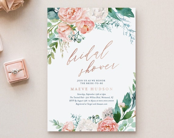 Editable Bridal Shower Invitation Template, Printable Boho Floral Wedding Shower Invite, Rose Gold, Mint & Navy, INSTANT DOWNLOAD #069-192BS