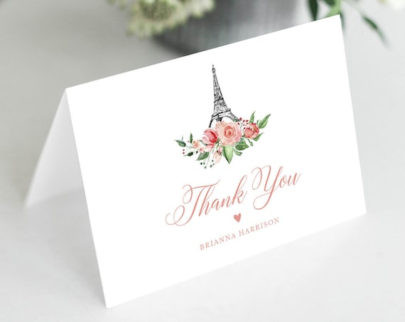 Paris Thank You Note Card Template, Editable Wedding / Bridal Shower Folded Card, Eiffel Tower, INSTANT DOWNLOAD, Templett #001-141TYC