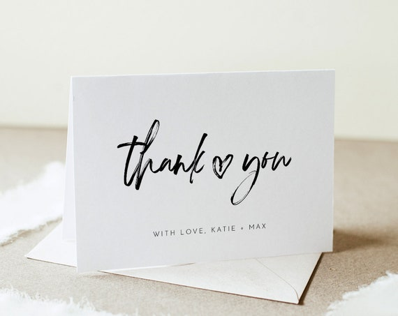 Modern Script Thank You Folded Card, Heart Wedding / Bridal Shower Note, Editable Template, Instant Download, Templett #090-154TYC