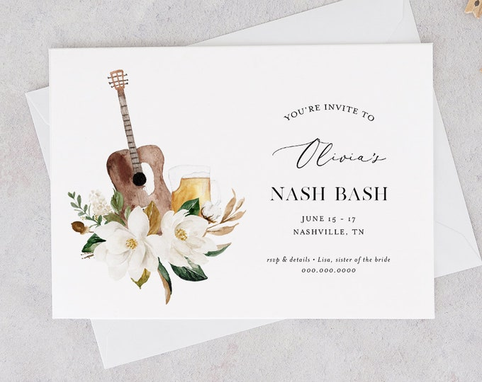 Nashville Bachelorette Weekend Invitation & Itinerary, Nash Bash, Tennessee, Editable Template, Templett, Instant Download #017-139BP