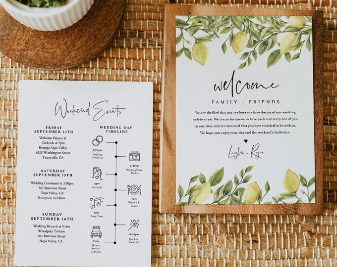 Lemon Wedding Welcome Letter & Timeline Template, Editable Summer Citrus Wedding Order of Events, Itinerary, INSTANT DOWNLOAD #089-162WB