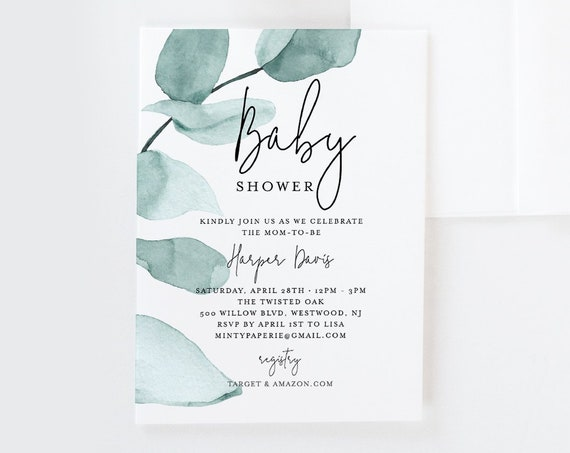 Baby Shower Invitation Template, Delicate Eucalyptus Greenery Baby Shower Invite, INSTANT DOWNLOAD, 100% Editable Text, DIY #049-124BS