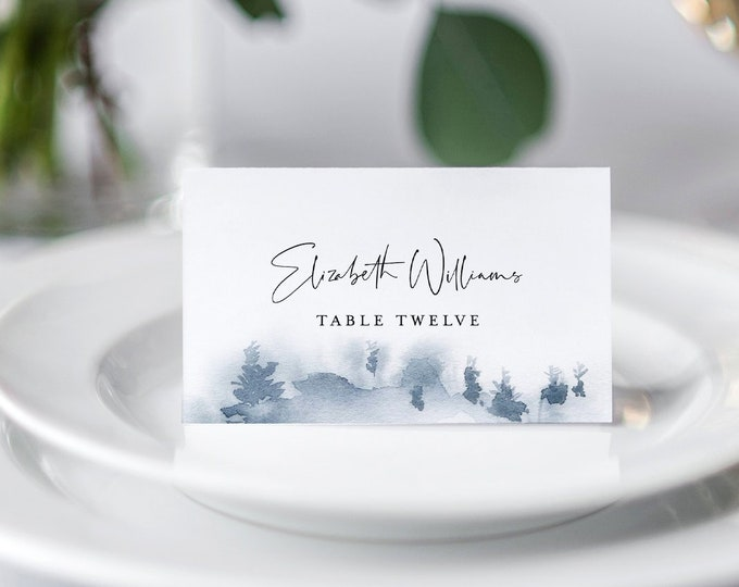 Winter Wedding Place Card Template, Printable Rustic Pine Escort Card, Name Card, Evergreen, 100% Editable Text, INSTANT DOWNLOAD 070-131PC