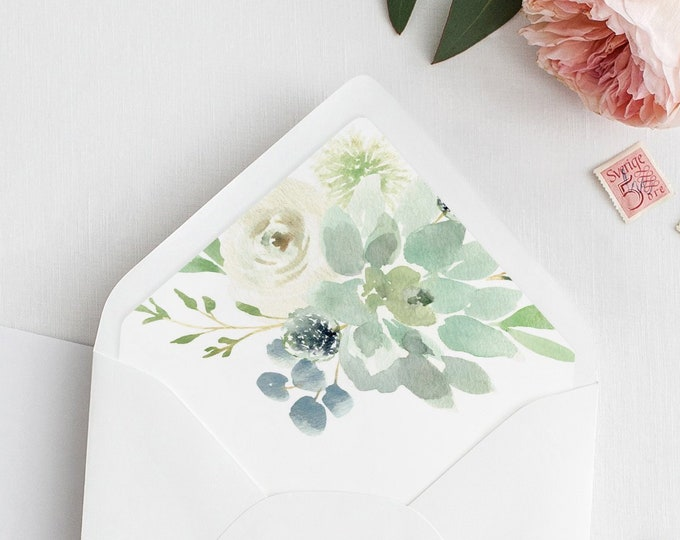 Envelope Liner Template, Watercolor Greenery and Succulent, Wedding Envelope Flap, Instant Download, A1, A6, A7 & More Sizes #075-103ENL