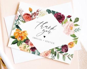 Thank You Card Template, Editable Wedding / Bridal Shower Folded Card, Burnt Orange & Burgundy Floral, INSTANT DOWNLOAD, Templett 002-136TYC