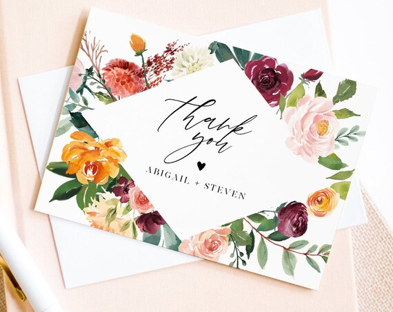 Thank You Card Template, Editable Wedding / Bridal Shower Folded Card, Burnt Orange & Burgundy Floral, INSTANT DOWNLOAD, Templett 002-136TYC