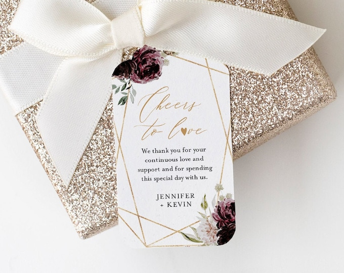 Favor Tag Template, Thank You Tag, Wine Tag, Bridal Shower or Wedding Tag, Welcome Bag, INSTANT DOWNLOAD, Editable, Templett #074-143FT