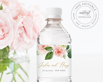 Water Bottle Label Template, INSTANT DOWNLOAD, Printable Custom Label, 100% Editable, Wedding Favor, Floral Bridal Shower Favor #043-108BL