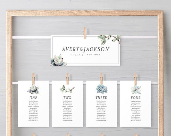 Succulent Seating Chart Template, Wedding Seating Cards, 100% Editable Text, Modern Rustic, Instant Download, Templett #048-116SP 041