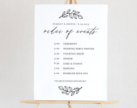 Order of Events Sign, Wedding Welcome Sign, INSTANT DOWNLOAD, 100% Editable Template, Wedding Timeline & Agenda, Printable Poster #052-125LS