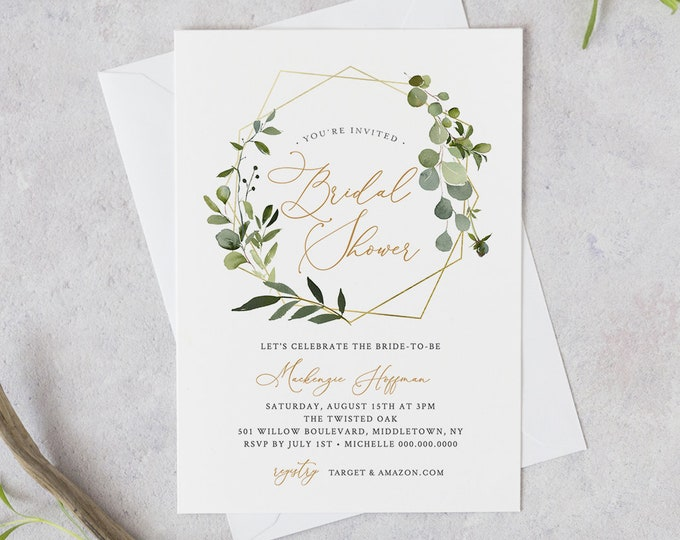 Greenery Bridal Shower Invitation Template, INSTANT DOWNLOAD, 100% Editable Text, Printable Couples Shower Invite, DIY, Templett #056-155BS