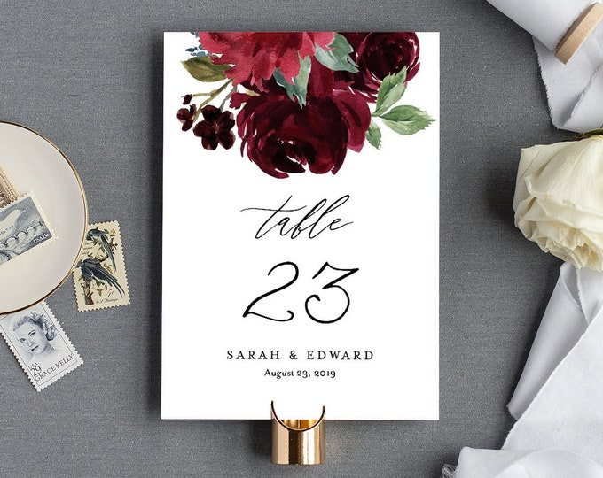 Boho Wedding Table Number Template, Printable Table Card, Burgundy Florals, INSTANT DOWNLOAD, Editable Text, Templett, 4x6 & 5x7 #062-132TC
