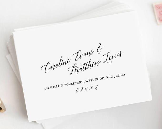Envelope Template, Calligraphy, 100% Editable, DIY Printable Wedding Envelope, Return Address, Mailing, Instant Download, A1, A7 #034-108EN