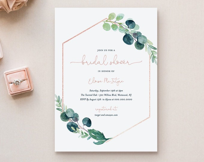 Eucalyptus Bridal Shower Invitation Template, DIY Blush & Greenery Wedding Shower Invite, Printable, Editable, INSTANT DOWNLOAD #068B-189BS