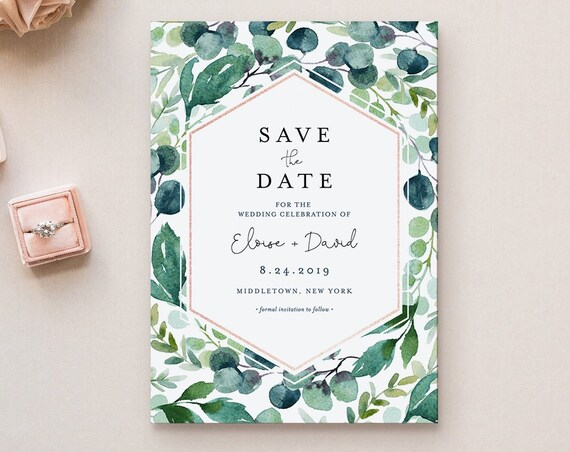 Save the Date Template, Wedding Date Announcement, Garden Greenery, Instant Download, 100% Editable Text, Templett, 4x6 & 5x7 #068-140SD
