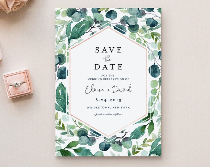 Save the Date Template, Wedding Date Announcement, Garden Greenery, Instant Download, 100% Editable Text, Templett, 4x6 & 5x7 #068B-140SD