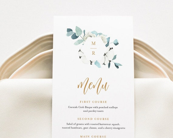 Winter Menu Card Template, Cotton Greenery Dinner Menu for Wedding, Bridal Shower, Baby Shower, Editable, Instant Download #091-153WM