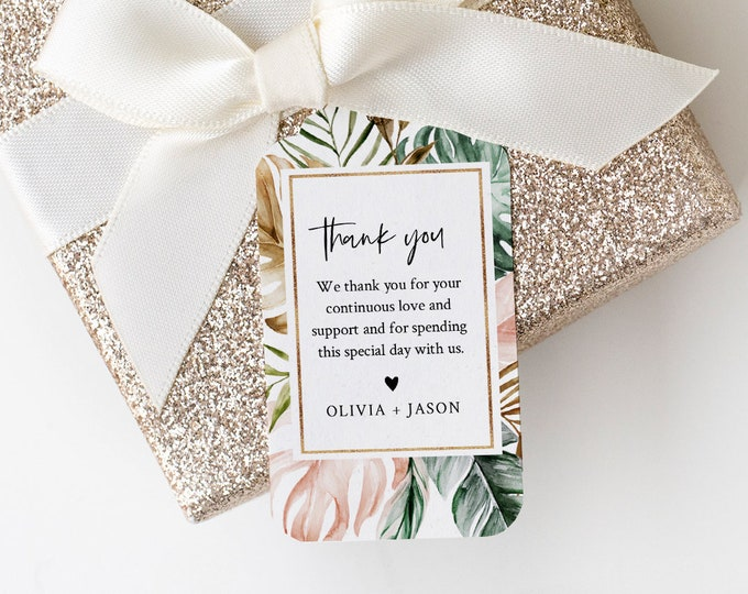 Tropical Wedding Favor Tag Template, Thank You Tag, Greenery Bridal Shower Tag, Welcome Bag, INSTANT DOWNLOAD, Editable, Templett #087-141FT