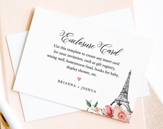 Paris Enclosure Card, Editable Template, Wedding, Bridal Shower, Baby Shower, Registry, Wishing Well, Book Request, Any Insert #001-145EC