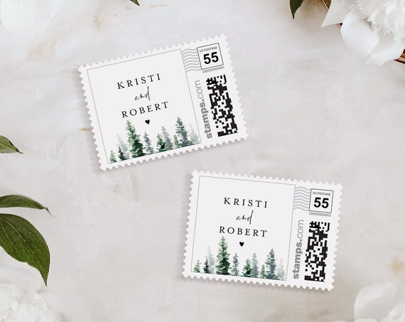Wedding Postage Stamp Template, Photostamps.com, Rustic Pine Tree, Instant Download, 100% Editable Text, Templett #073-101PS
