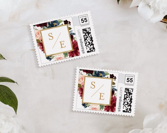Custom Postage Stamp Template, Greenery and Gold Wedding, Photostamps.com, DIY, Instant Download, 100% Editable Text, Templett #062-104PS