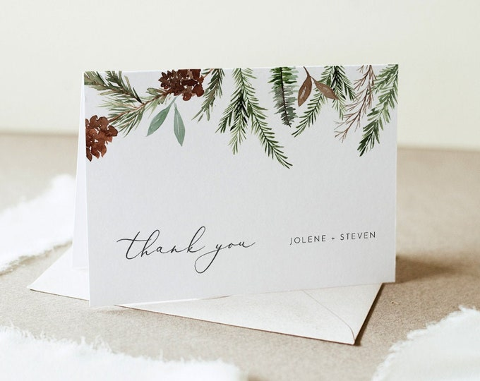 Pine Thank You Card, Winter Wedding, Christmas Thank You Note, Flat or Folded, Editable Template, Instant Download, Templett #0017-175TYC