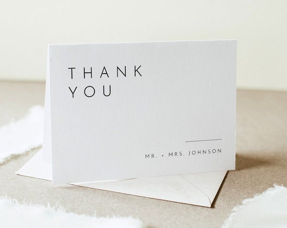 Modern Thank You Folded Card Printable, Minimalist Wedding / Bridal Shower Note, Editable Template, INSTANT DOWNLOAD, Templett #094-147TYC