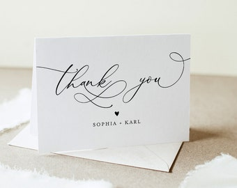 Thank You Card Template, Minimalist Wedding Thank You, Bridal Shower Thank You Folded Card, Note Card, Instant Download Templett #092-142TYC