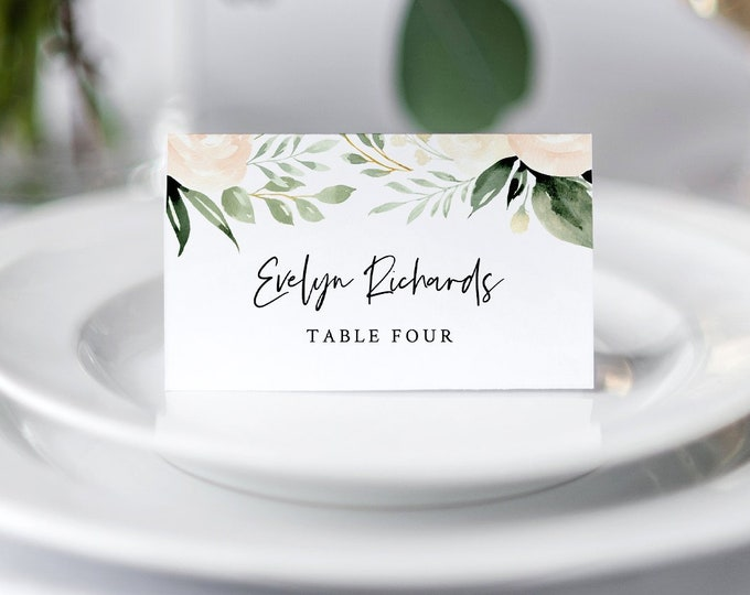 Peach Floral Wedding Place Card Template, INSTANT DOWNLOAD, 100% Editable, Printable Escort Card, Greenery Name Card, Templett #076-134PC