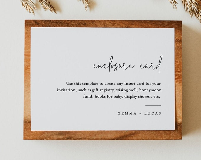 Minimalist Enclosure Card, Modern Simple Wedding Invitation Insert, Baby Shower Insert, Editable Details & Info, Instant Download 095A-173EC